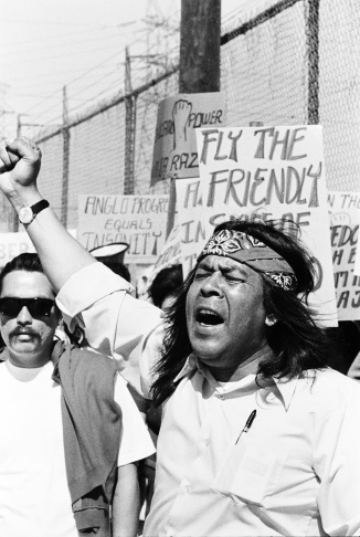 Students and community members lead protest in La Marcha Por La Justicia, Belvedere Park, 1971.
