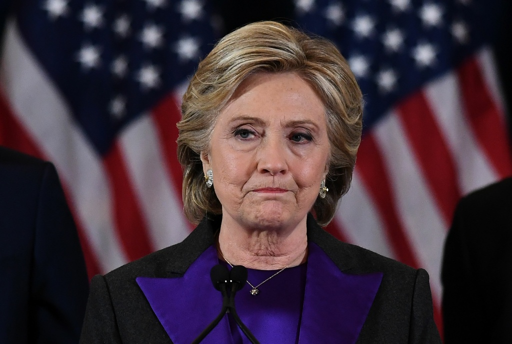 US Democratic presidential candidate Hillary Clinton makes a concession speech after being defeated by Republican president-elect Donald Trump in New York on November 9, 2016.