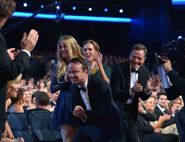 Aaron Paul and Bryan Cranston in the audience at the 65th Primetime Emmy Awards at Nokia Theatre on Sunday Sept. 22, 2013, in Los Angeles.  (Photo by John Shearer/Invision for Academy of Television Arts & Sciences/AP Images)