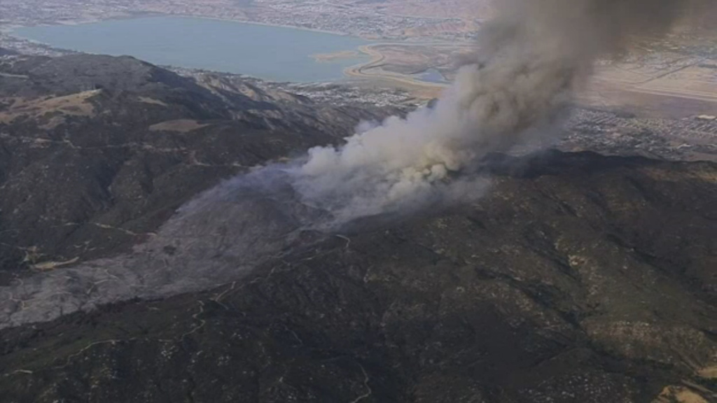 The Riverside County Fire Department says a brush fire in Cleveland National Forest prompted evacuation warnings on Thursday, Oct. 26, 2017, for about 300 to 500 homes in and near Wildomar and Lakeland Village.