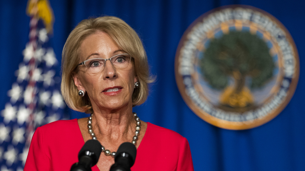 Education Secretary Betsy DeVos speaks during a White House Coronavirus Task Force briefing this month in Washington, D.C.