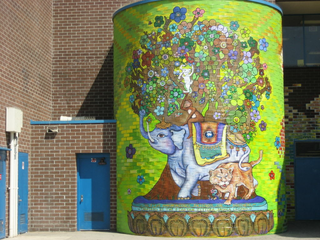 Large scale mural project finished after eight months at Johnnie Cochran Middle School in L.A.