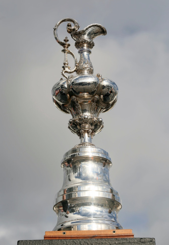 Yachting's America's Cup is displayed upon its arrival for a ceremony in San Diego, California on Febuary 21, 2010 to celebrate the team Oracle's victory in the 33rd America's Cup yacht race.
