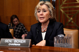 Senate Environment and Public Works Committee Chairman Barbara Boxer (D-CA) listens to witnesses testify about the government response to the oil spill in the Gulf of Mexico during a hearing on Capitol Hill May 18, 2010 in Washington, DC.