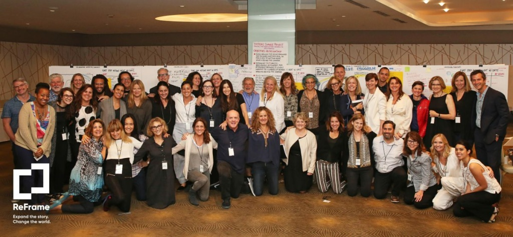 Pictured are the entertainment industry professionals who make up the ReFrame ambassadors, a group organized by Women in Film and The Sundance Institute to address gender equity in Hollywood.