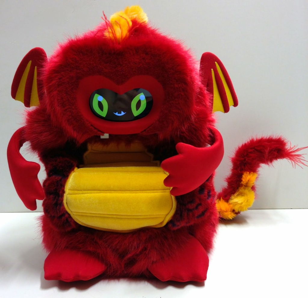 This dragonbot named Chili encourages students to make healthy food choices. The students give Chili different foods, and Chili gives feedback after tasting the foods.