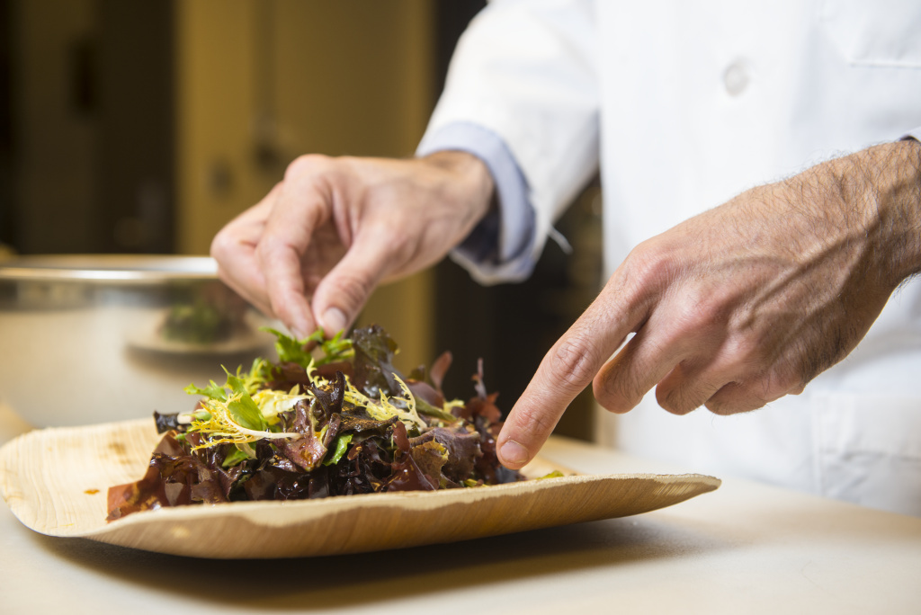 Jason Ball, research chef at the Food Innovation Center, Portland, Oregon prepares dishes made with the ingrediant dulse. Dulse is a type of seaweed variety currently being grown and researched at the Hattfield Marine Science Center in Newport, Oregon.