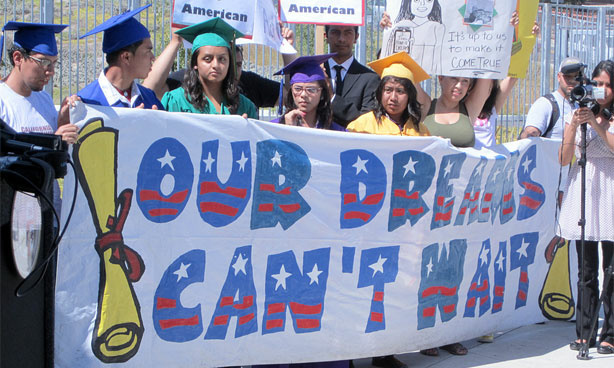 Undocumented students and supporters rally at the Roybal Learning Center in Los Angeles, Sept. 20, 2010, in favor of the DREAM Act.