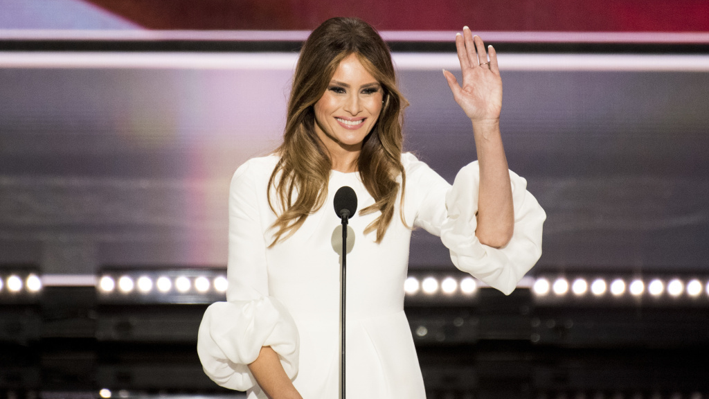 Melania Trump, wife of Republican nominee Donald Trump, speaks during the Republican National Convention in Cleveland on Monday.