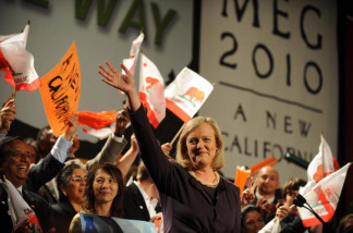California Republican gubernatorial candidate Meg Whitman takes the stage during her primary election night party at the Hilton Hotel in Universal City
