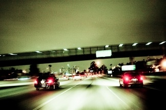 Traffic along the 10 Freeway in Los Angeles.