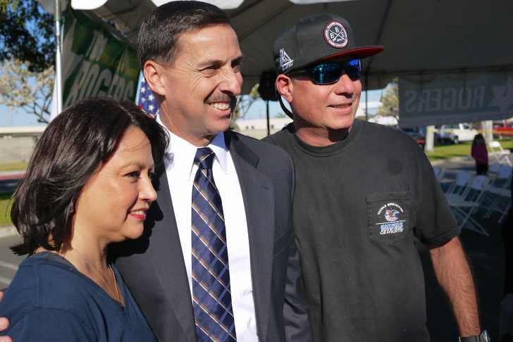 LA County Assistant Sheriff Todd Rogers poses outside a campaign event in Carson. He's a candidate for LA County Sheriff.
