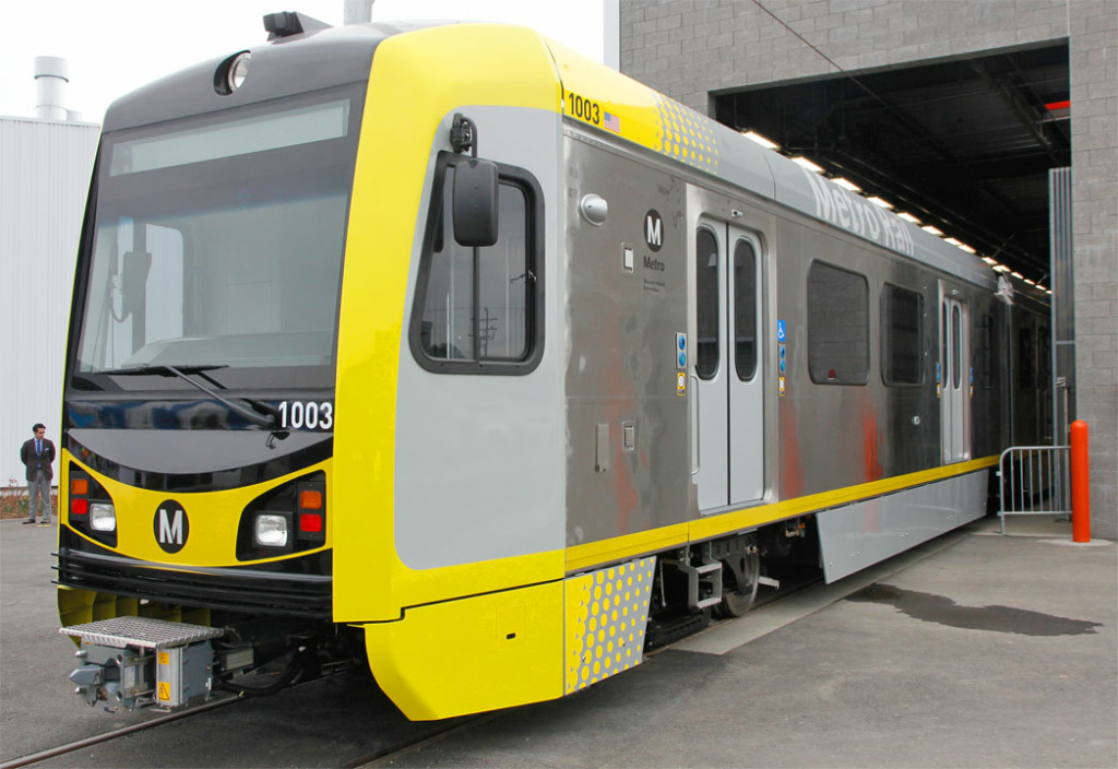 File: A Gold Line train car at Metro's Monrovia rail yard.