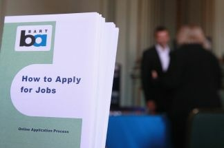 Pamphlets for employment with Bay Area Rapid Transit (BART) are displayed during a job fair for veterans on September 14, 2010 in San Francisco, California. Dozens of unemployed veterans attended the one-day job fair hosted by Swords to Plowshares.