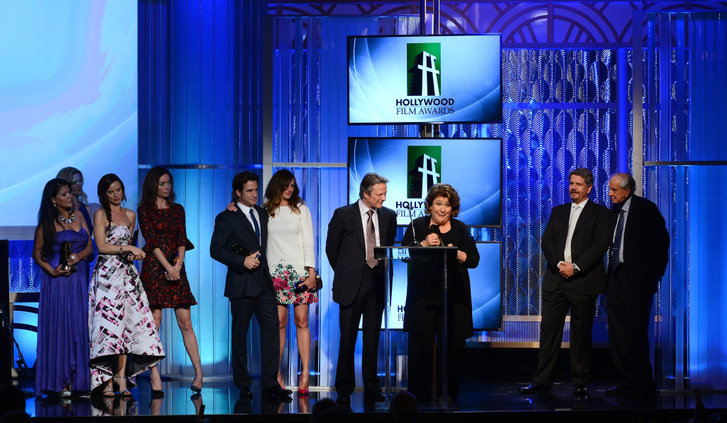 BEVERLY HILLS, CA - OCTOBER 21:  (L-R) Actors Misty Upham, Juliette Lewis, Julianne Nicholson, Dermot Mulroney, Julia Roberts, Chris Cooper and Margo Martindale accept the Hollywood Ensemble Cast Award for 'August: Osage County,' as director John Wells and presenter Garry Marshall look on, onstage during the 17th annual Hollywood Film Awards at The Beverly Hilton Hotel on October 21, 2013 in Beverly Hills, California.  (Photo by Mark Davis/Getty Images)