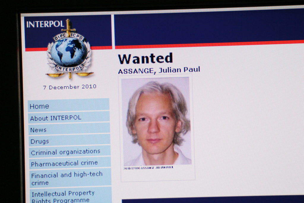 A picture shows the Interpol webpage with the portrait of Australian Julian Assange, founder of whistleblowing website Wikileaks, posted on its most-wanted list on Dec. 7, 2010 after a Swedish court investigating a molestation allegation issued an international arrest warrant.