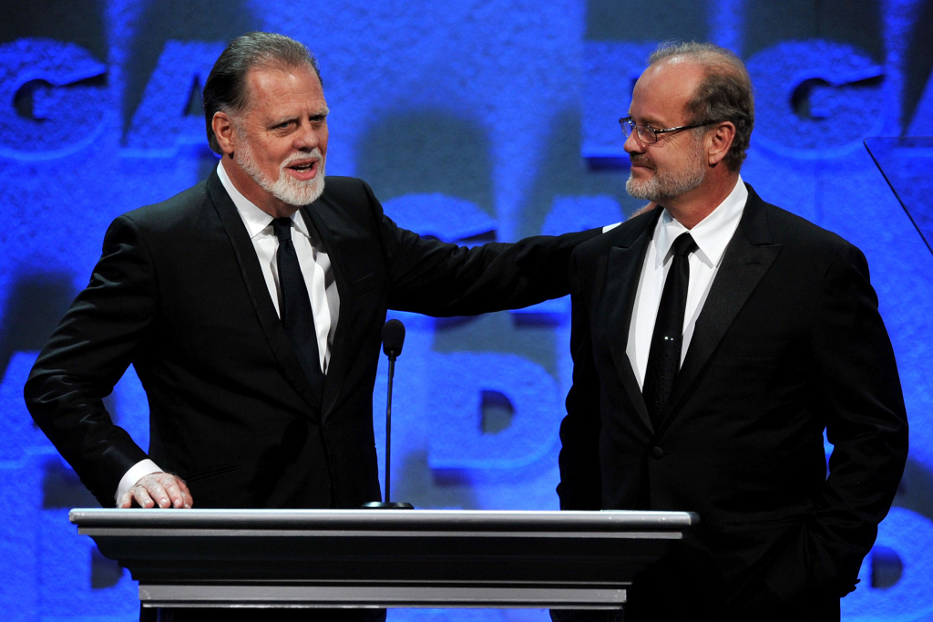 DGA President Taylor Hackford and host Kelsey Grammer speak onstage during the 64th Annual Directors Guild Of America Awards held at the Grand Ballroom at Hollywood & Highland on January 28, 2012 in Hollywood, California.