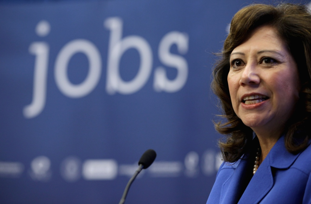 Former U.S. Labor Secretary Hilda Solis speaks during a news conference to announce a partnership between Facebook, the National Association of Colleges and Employers, DirectEmployers Association and the National Association of State Workforce Agencies aimed at connecting Americans with jobs October 20, 2011 in Washington, DC. Solis has been endorsed by Gloria Molina for her LA County Supervisor position.