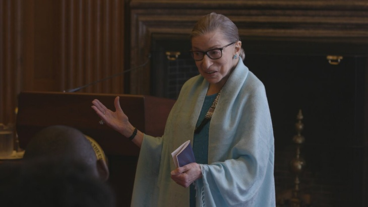 Justice Ginsburg mid workout routine in RBG, a Magnolia Pictures release.