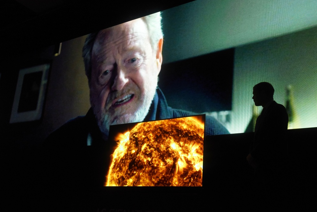 Director Ridley Scott speaks about the commercial he is creating for the Super Bowl, at the LG press conference on CES Press Day on January 5, 2016 in Las Vegas, Nevada.