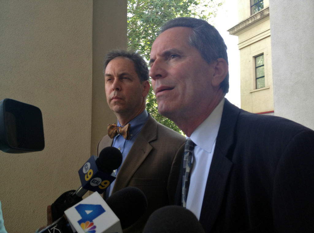 Investigators from the L.A.  Office of Independent Review Rob Miller and Michael Gennaco, April 5, 2012. They spoke to media outside of Pasadena Police headquarters after meeting with the police chief and city manager about the investigation into the police-involved shooting of unarmed teen Kendrec McDade.