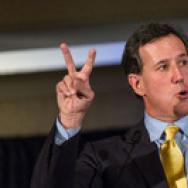 Former Pennsylvania Sen. Rick Santorum speaks during the Republican Society Patriot Dinner at the Citadel Military College in Charleston, S.C., in February.