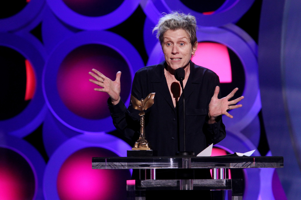 Actor Frances McDormand accepts Best Female Lead for 'Three Billboards Outside Ebbing, Missouri' onstage during the 2018 Film Independent Spirit Awards on March 3, 2018 in Santa Monica, California.