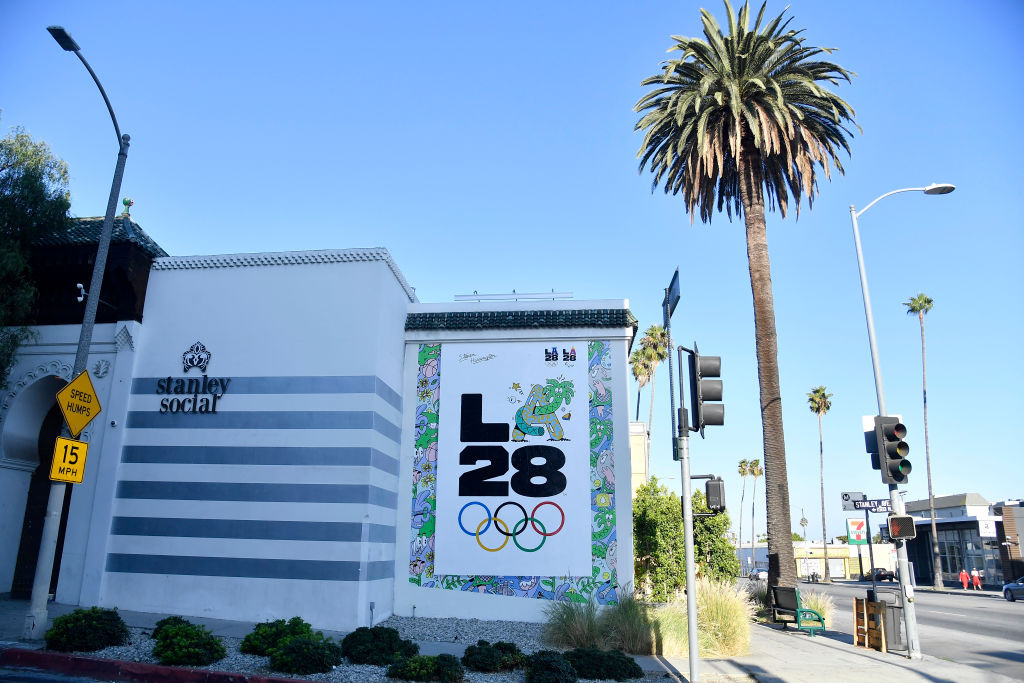 The LA28 Olympic mural by Artist Steven Harrington is displayed on the corner of Stanley street and Sunset Boulevard on September 01, 2020 in Los Angeles, California.