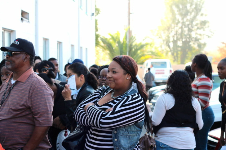 Hundreds of job seekers lined up around the perimeter of the Metropolitan Baptist Church in Altadena for a Walmart hiring event. Walmart is hiring 65 people for its Neighborhood Market store in Altadena.