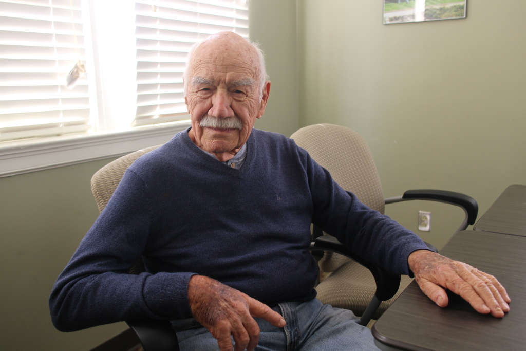 WWII veteran Larry Manzo, 90, has been practicing mindfulness at the West Los Angeles VA for about 3 years.