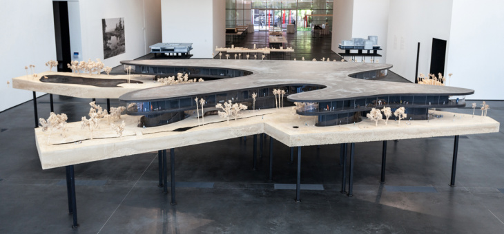 The third section of the new exhibit will feature a model of the proposed new building. This expansive, horizontal design will be made mostly of glass and include a roof covered in solar panels.