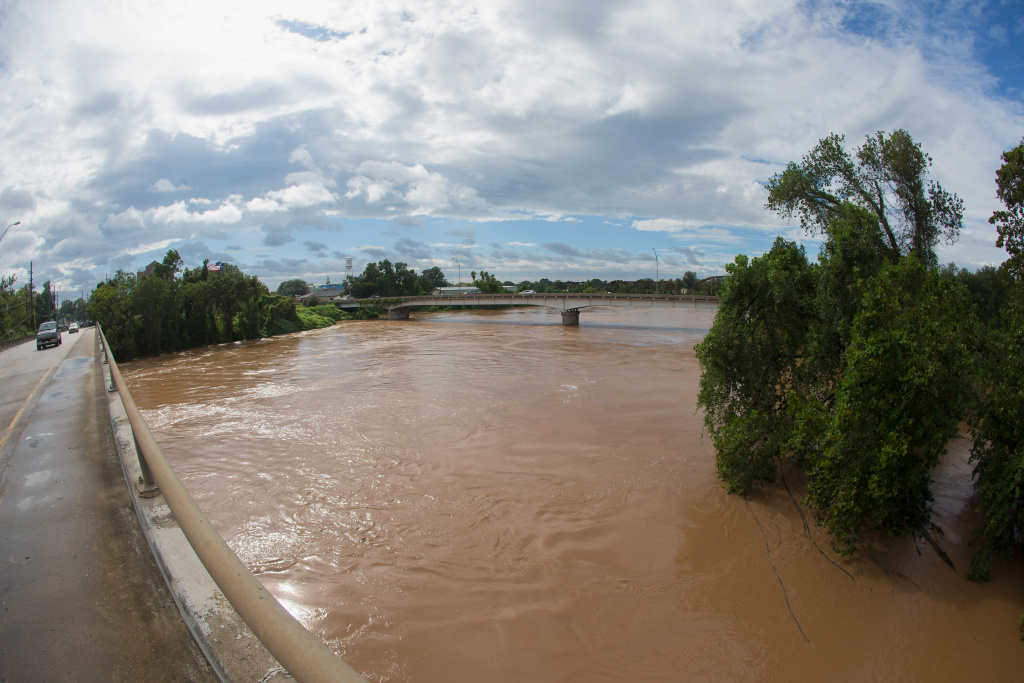 The Brazos River on Highway 90A reaches record level due to rain fall from Hurricane Harvey on September 1, 2017 in Richmond, Texas.