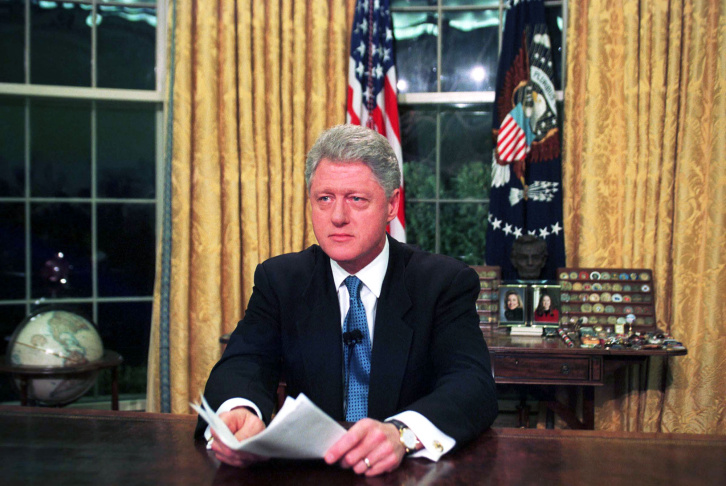 President Clinton In The Oval Office After His Television Address To The Nation On NATO Bombing Of S