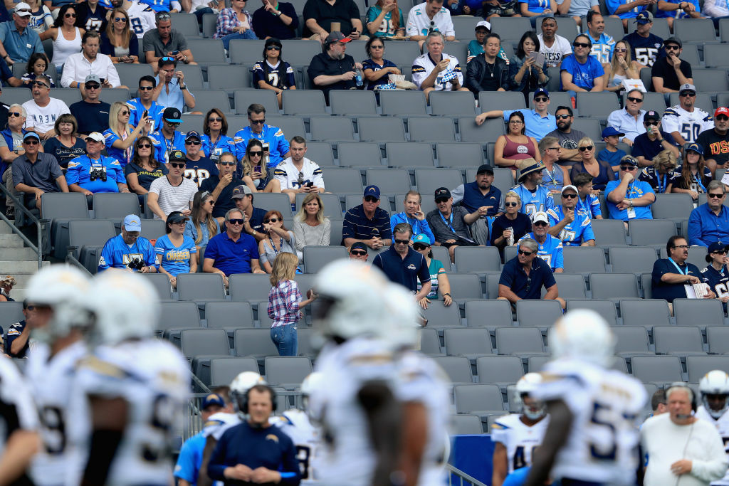 Empty seats during the first half of a game between the Los Angeles Chargers and the Miami Dolphins  at StubHub Center on September 17, 2017.