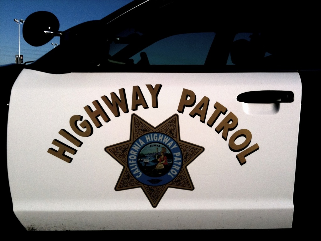 A California Highway Patrol car door.