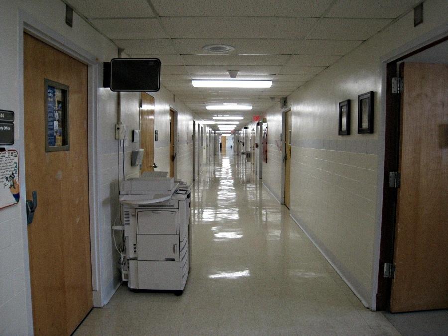 Unrelated photo of hallway in DeWitt Army Medical Center.