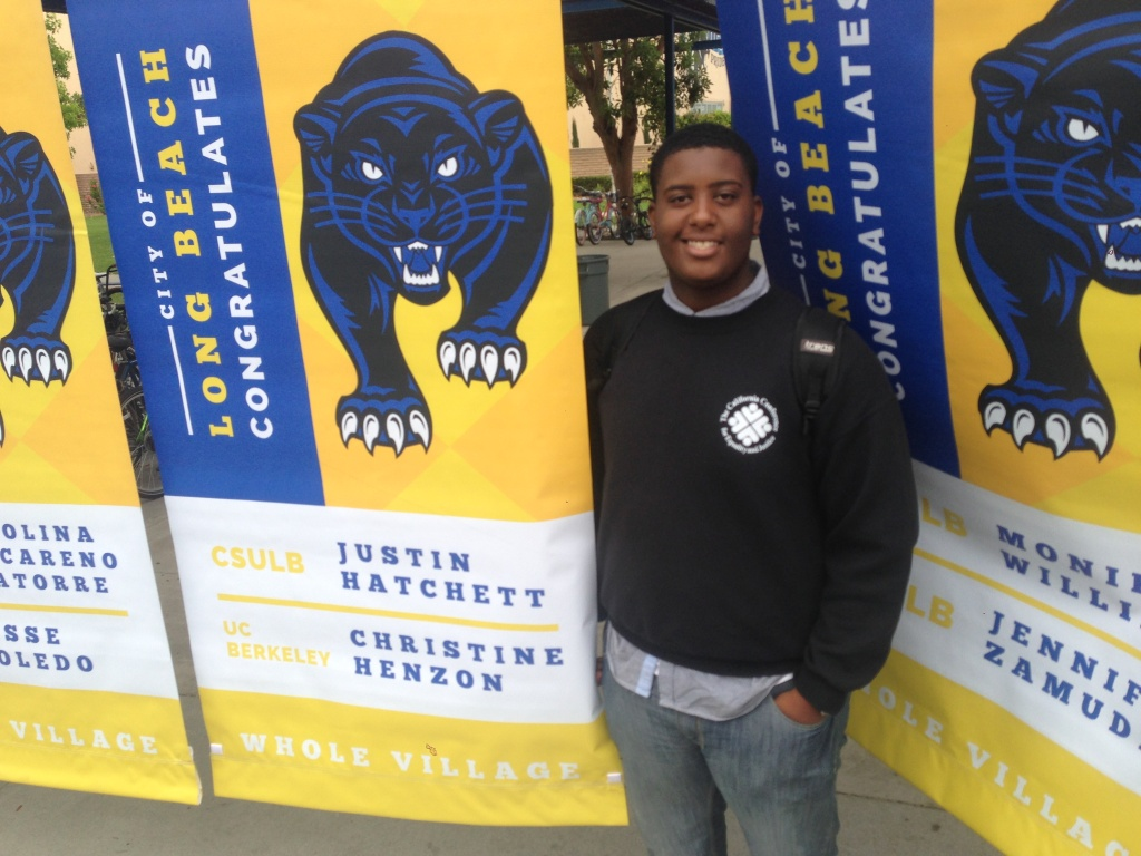 Long Beach high school student Justin Hatchett is one of 16 African-American students who are the first to graduate with the help of a four-year tutoring and college-readiness program.
