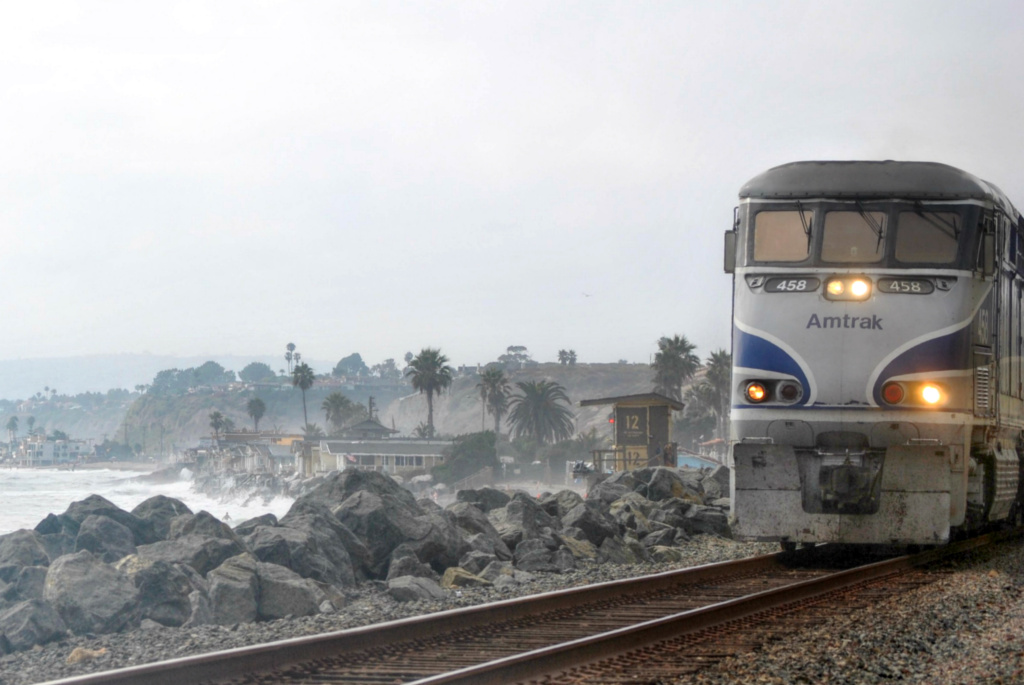 The Amtrak Pacific Surfliner travels 350 miles along the coast from San Diego to San Luis Obispo, Calif.