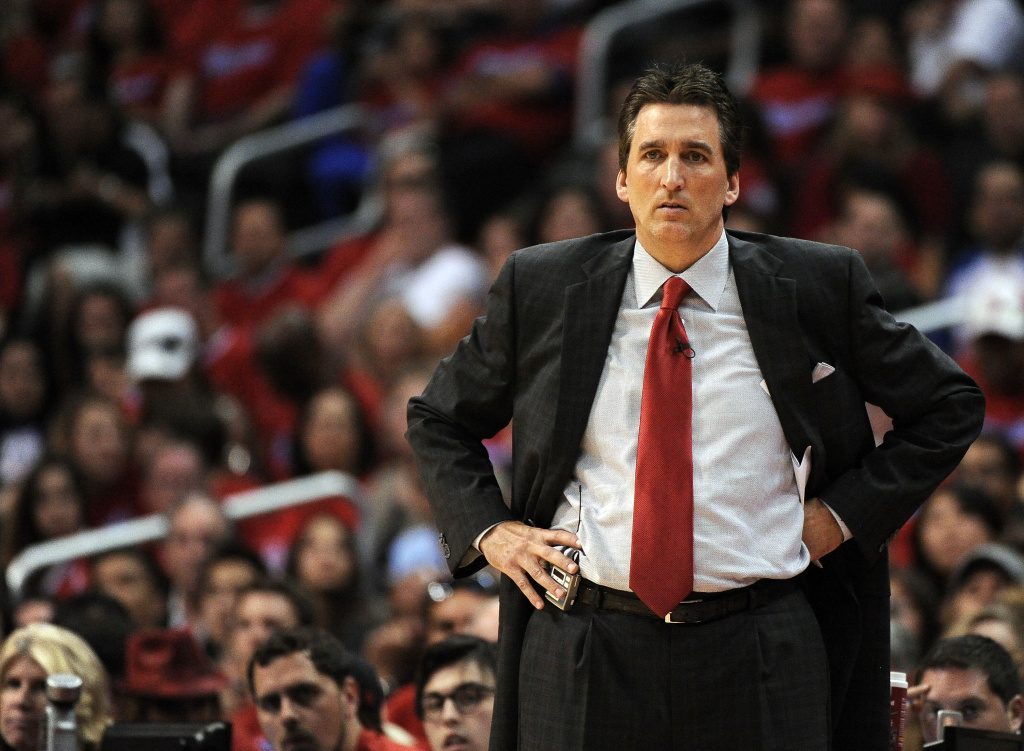Vinny Del Negro of the Los Angeles Clippers watches play during the game at Staples Center.