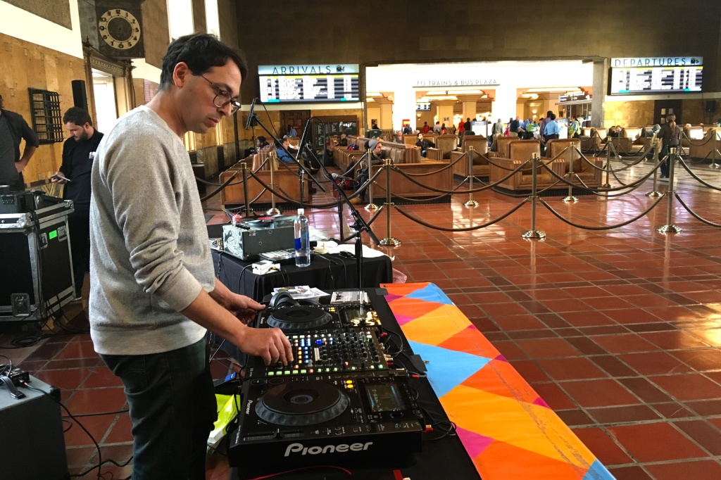 Alejandro Cohen, director of music collective and online radio station Dublab, plays music at Union Station for the
