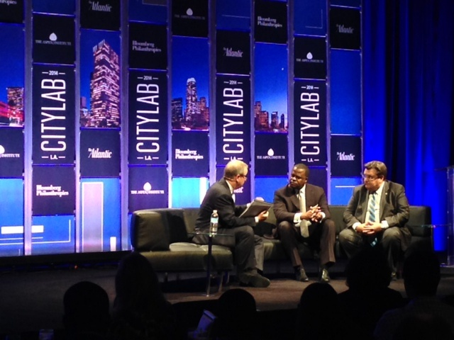 From left to right: Ronald Brownstein, Editorial Director, Atlantic Media; Atlanta Mayor Kasim Reed; and Montreal Mayor Denis Coderre speak on a panel about immigration at CityLab 2014.