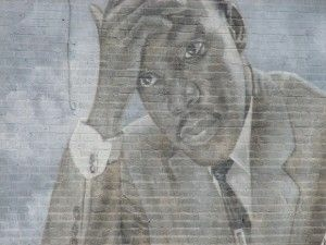 A detail from a mural with an image of Martin Luther King, Jr.