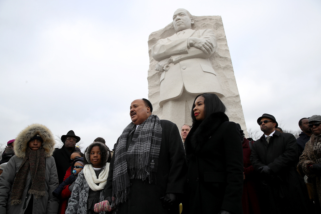 Martin Luther King III speaks in front of the Martin Luther King Jr. Memorial on Martin Luther King Day January 15, 2018 in Washington, DC.