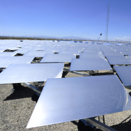 "Mirrors or ""heliostats"" at the eSolar Sierra SunTower power plant in Lancaster, California in the Mojave Desert. The Desert Renewable Energy Conservation Plan would set aside 2,000 square miles of California desert for large-scale renewable energy projects."
