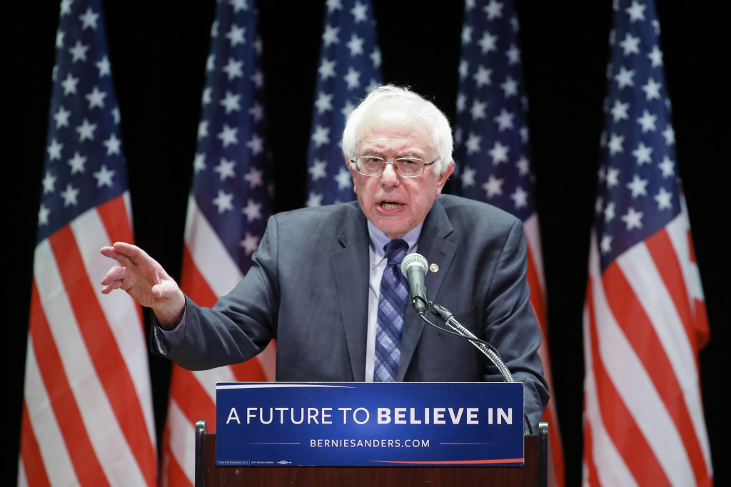 File: Democratic presidential candidate Bernie Sanders delivers a major policy address on Wall Street reform in New York on Jan. 5, 2016.