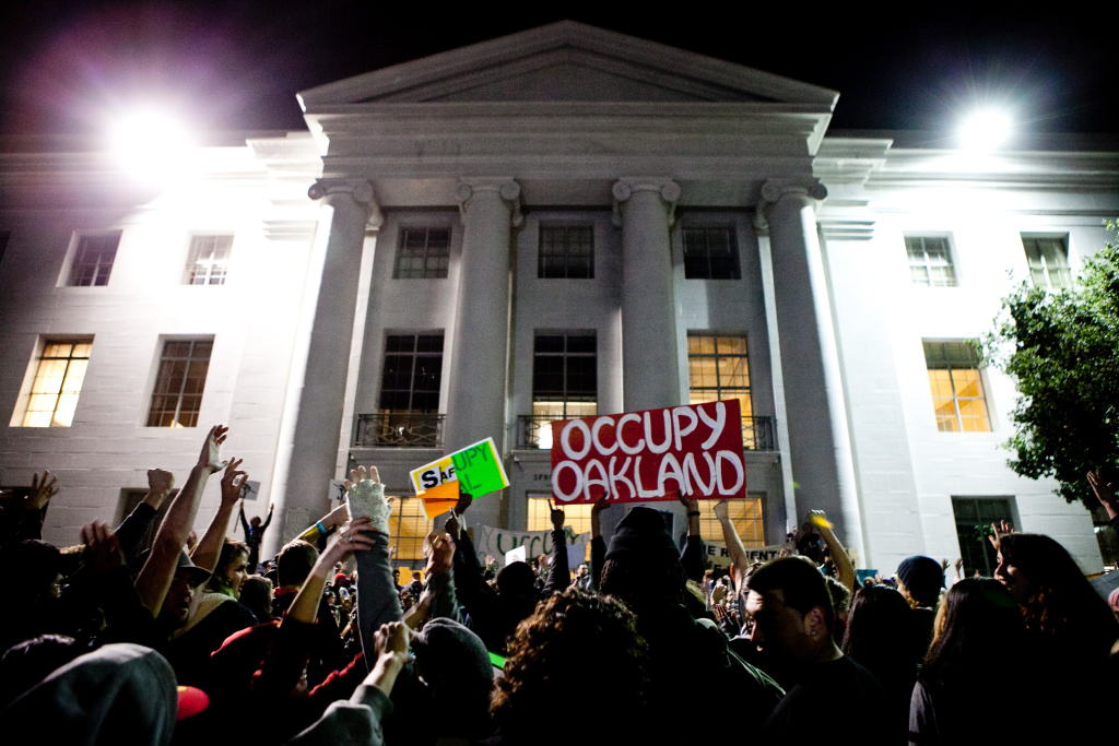 University of California, Berkeley students celebrate after again occupying campus as part of an