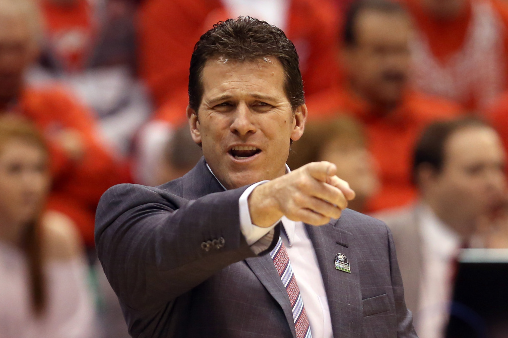 Head coach Steve Alford of the New Mexico Lobos reacts in the second half while taking on the Harvard Crimson during the second round of the 2013 NCAA Men's Basketball Tournament. UCLA announced Saturday that Alford will be UCLA's new men's basketball coach.