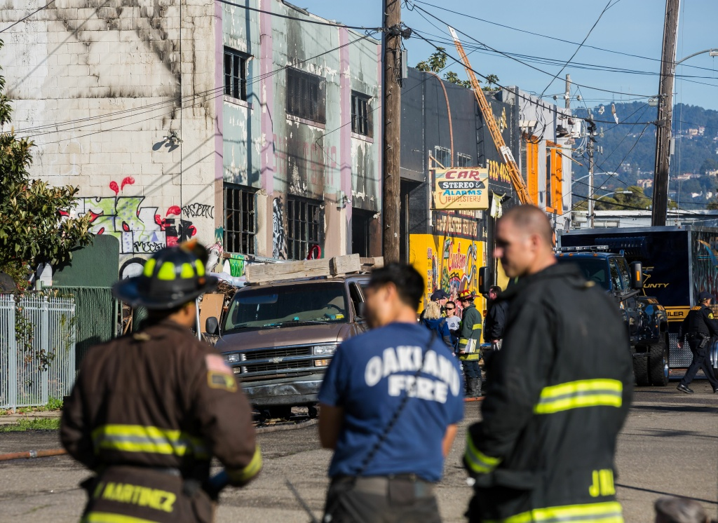 Up to 40 people are feared dead in a huge fire that tore through a warehouse party in Oakland.