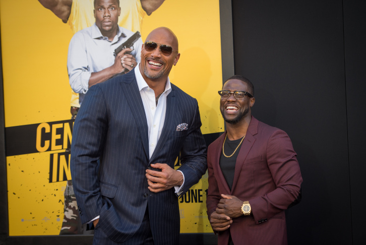 Actors Dwayne Johnson and Kevin Hart attend the premiere of Warner Bros. Pictures'