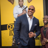 "Actors Dwayne Johnson and Kevin Hart attend the premiere of Warner Bros. Pictures' ""Central Intelligence"" at Westwood Village Theatre in Westwood, California."
